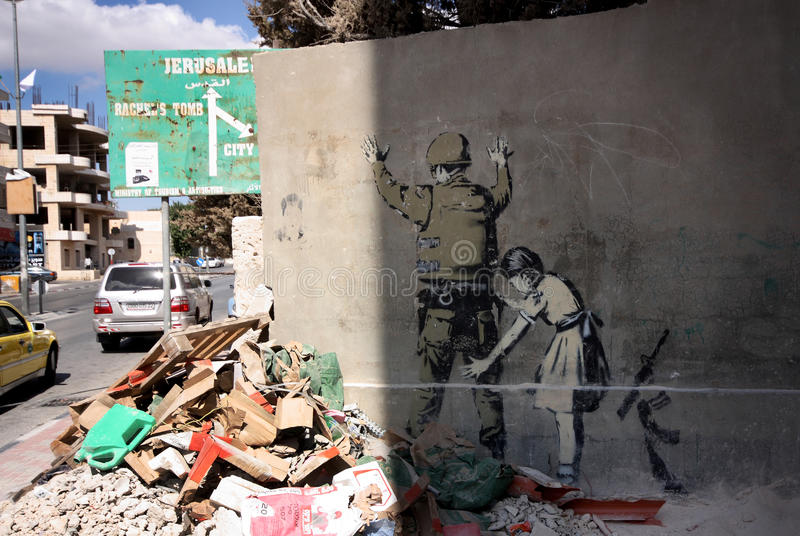 banksy伯利恒街道画巴勒斯坦 免版税库存照片