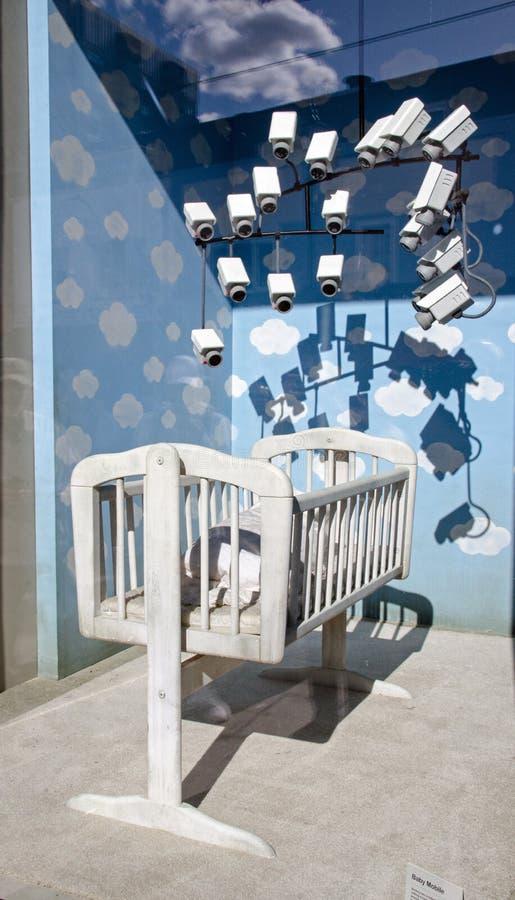 Banksy Baby Monitoring Mobile, Croydon stock fotografie