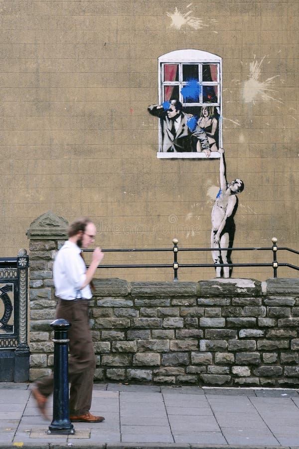 banksy bristol berömdt grafittistycke arkivbild