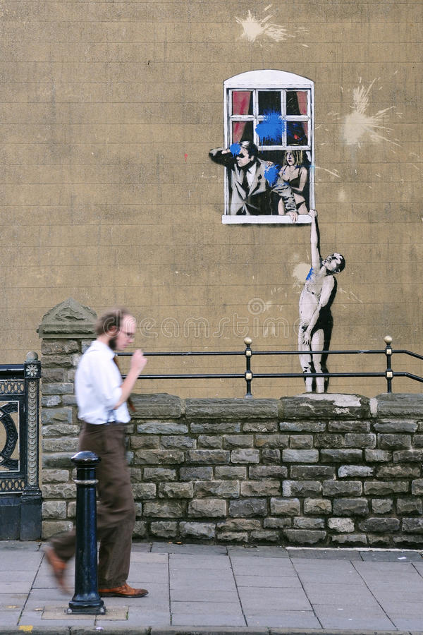 banksy brystolu sławny graffiti kawałek fotografia stock