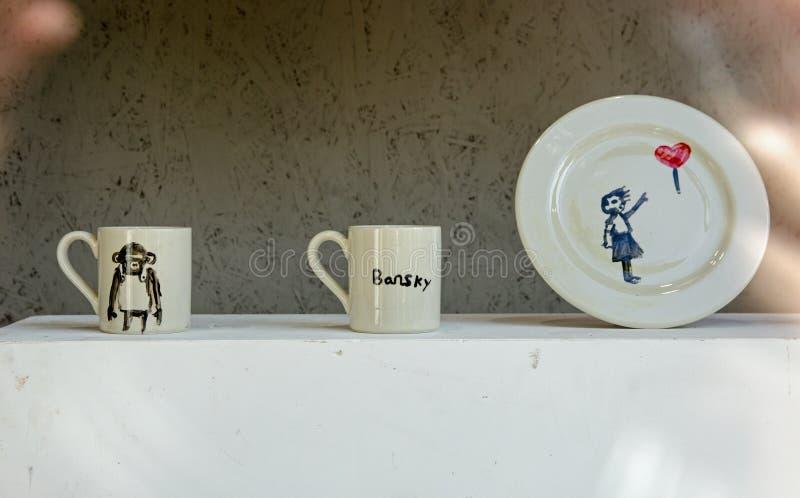 Banksy Crockery, Croydon royalty-vrije stock foto