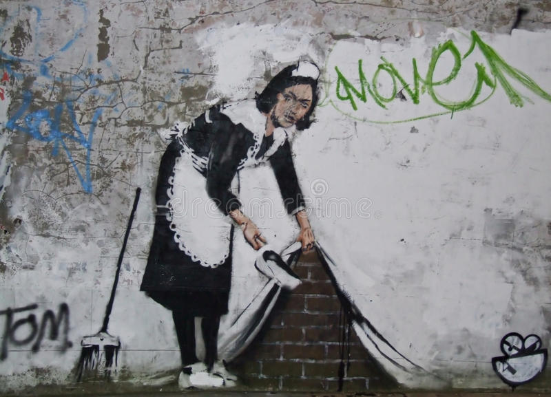 Banksy, ferme Rd de craie., Londres photo stock