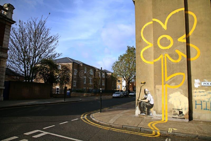 Banksy graffiti fotografia stock