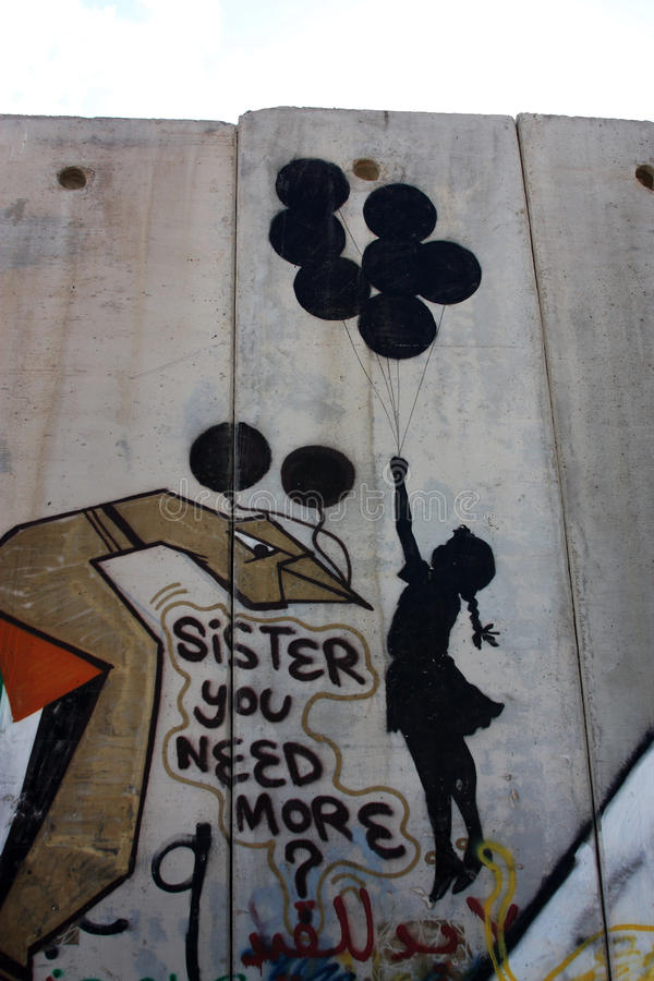 Banksy graffiti on Palestine wall stock photos
