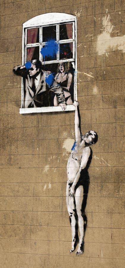 Banksy grafika w Bristol zdjęcia stock