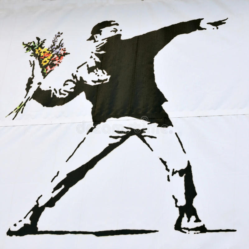 Free Banksy Piece Of A Rioter Throwing A Flower Bouquet Royalty Free Stock Image - 16545576