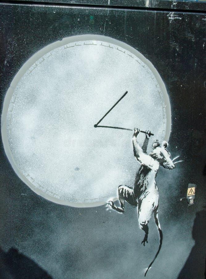 Banksy rat op klokstencil, Croydon stock foto