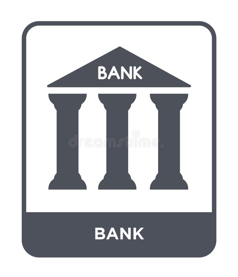banksymbol i moderiktig designstil Banksymbol som isoleras på vit bakgrund enkelt och modernt plant symbol för bankvektorsymbol f vektor illustrationer