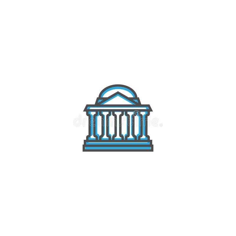 Banksymbolslinje design Illustration för affärssymbolsvektor royaltyfri illustrationer
