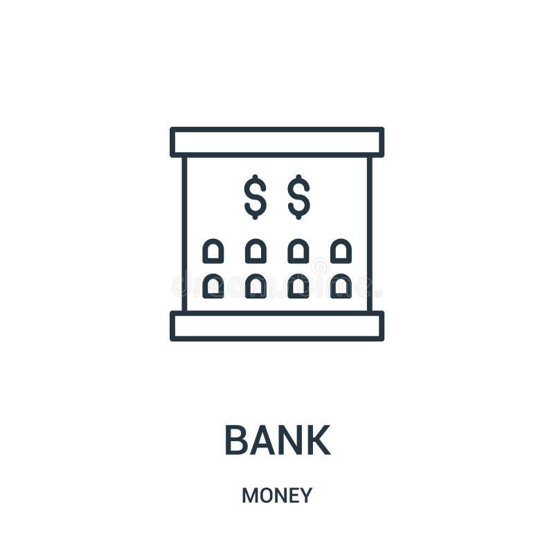 banksymbolsvektor från pengarsamling Tunn linje illustration för vektor för banköversiktssymbol stock illustrationer