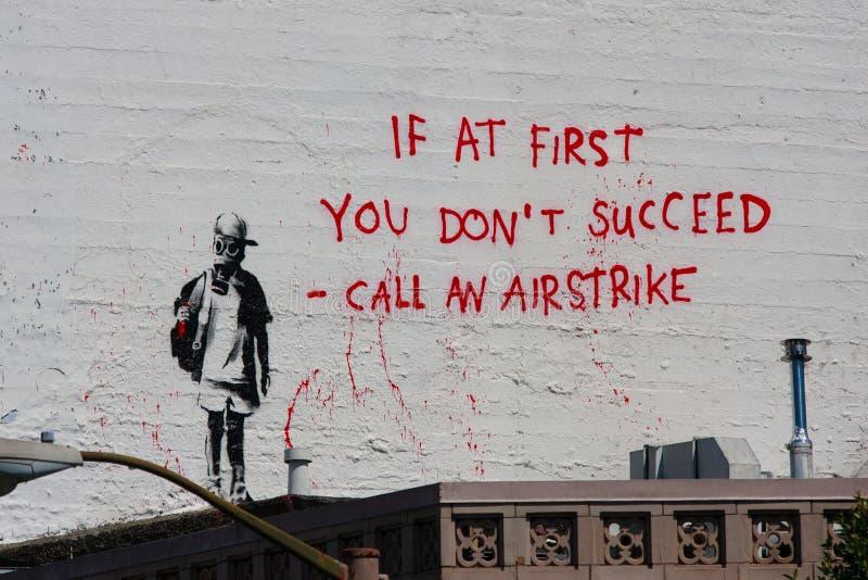 Banksys Graffiti stockfoto