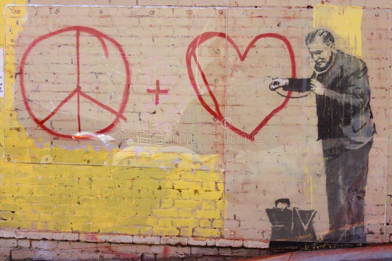 Banksys Graffiti stockbilder