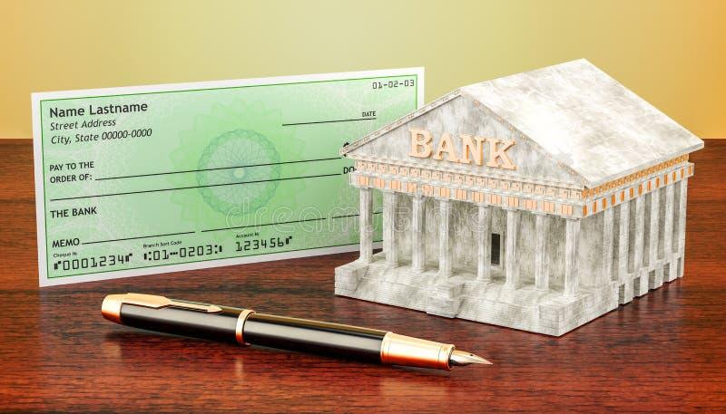 Banksystem, Scheck mit Füllfederhalter Wiedergabe 3d stock abbildung