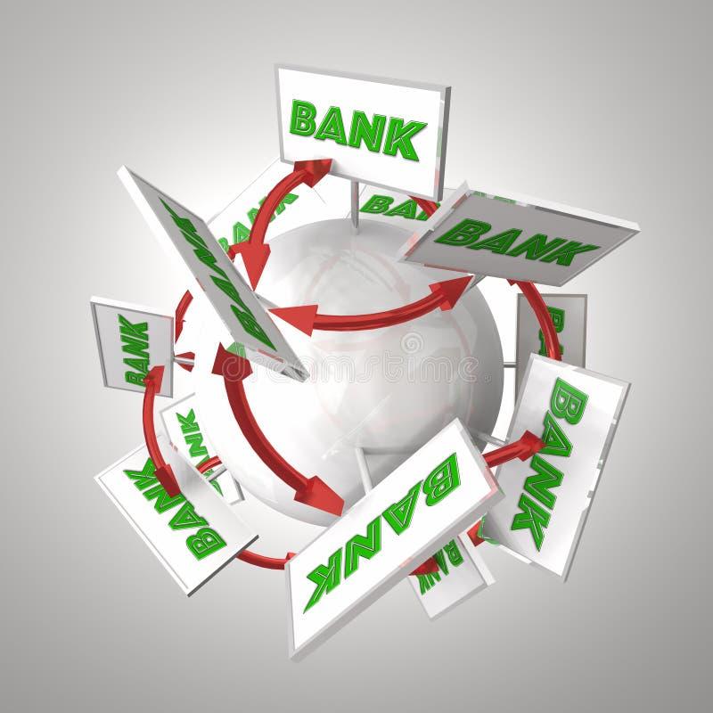 Banktecken runt om sfärpilar som förbinder packa ihop finansiell Ins royaltyfri illustrationer