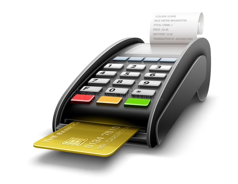 Bankterminal voor betalingen door kaartverwerking royalty-vrije illustratie