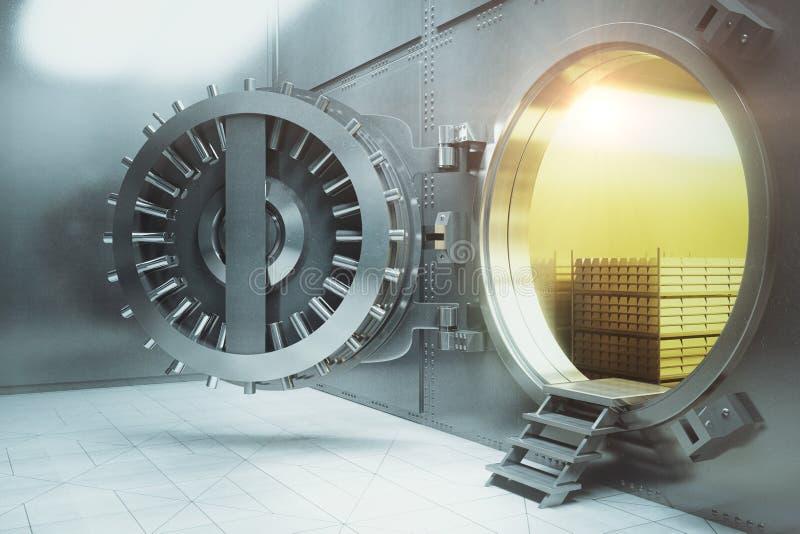 Banktresor mit Gold stapelt Seite lizenzfreie abbildung