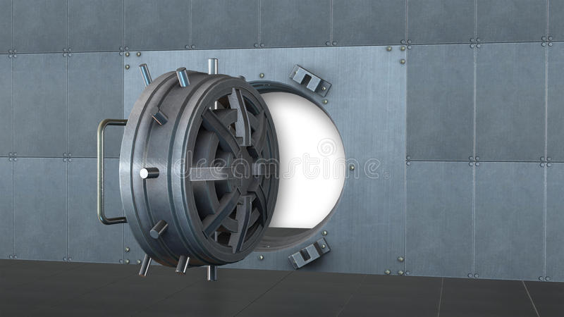 Banktresor, sichere Tür offen stock abbildung