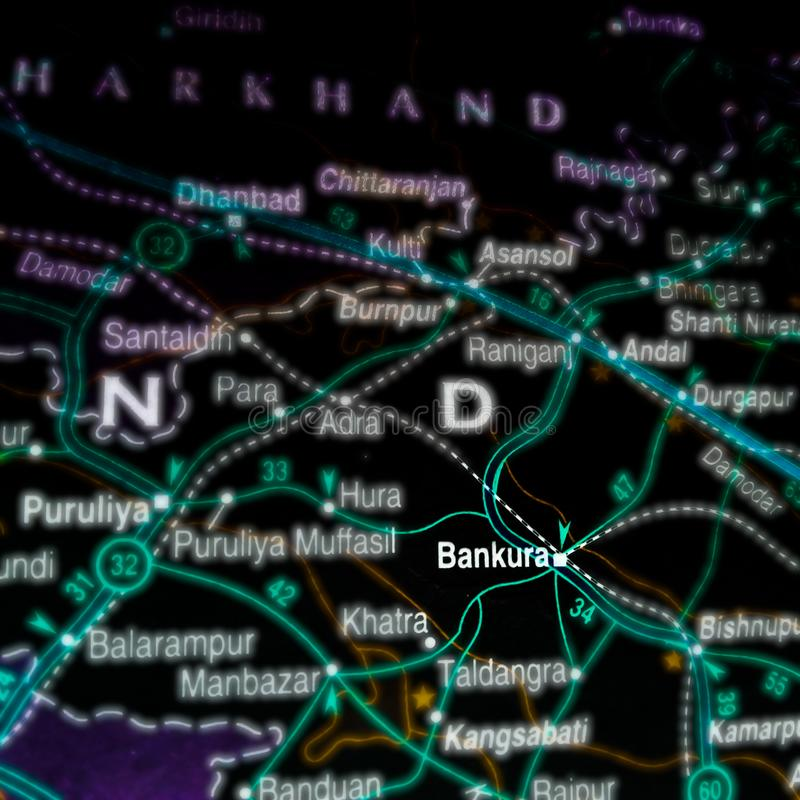 Bankura place in India name presented on geographical location map. Meghalaya, state, displaying, city, displayed, myanmar, ocean, country, bhutan, itanagar stock images