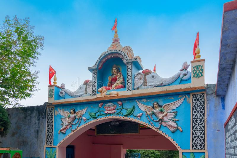 Biharinath temple at Bankura, West Bengal, India. BANKURA, WEST BENGAL , INDIA - DECEMBER 24TH 2015 : Entrance of Biharinath temple at the top of the Biharinath stock images