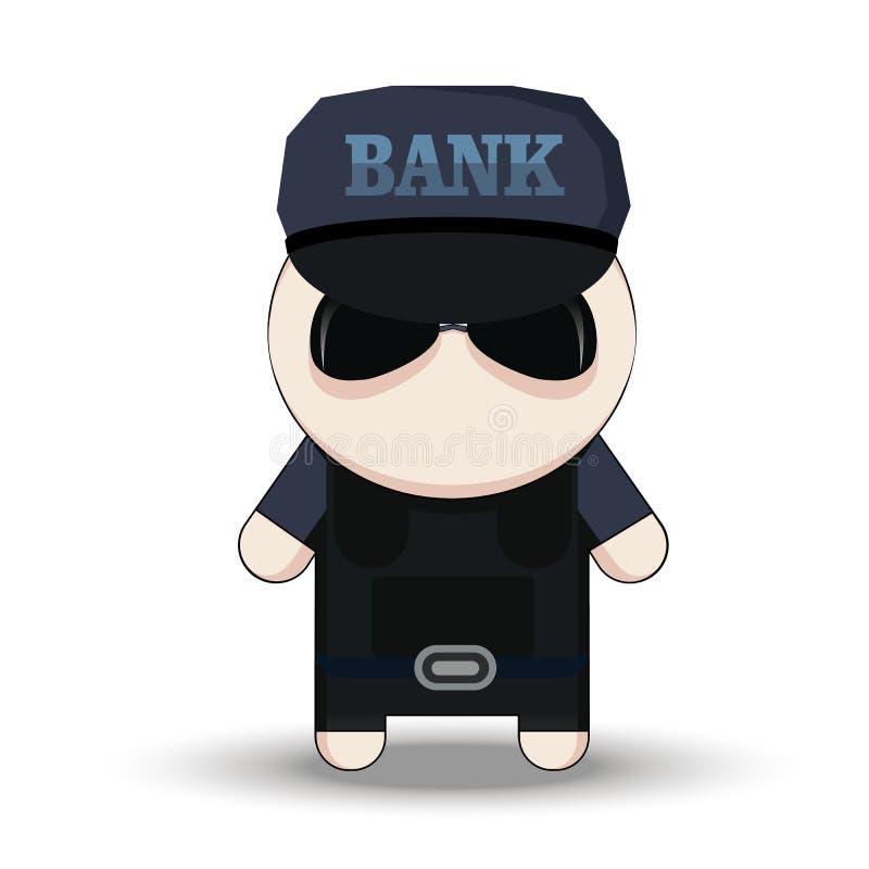 Bankveiligheidsagent Karakter van de beeldverhaal het 2d Collector royalty-vrije illustratie