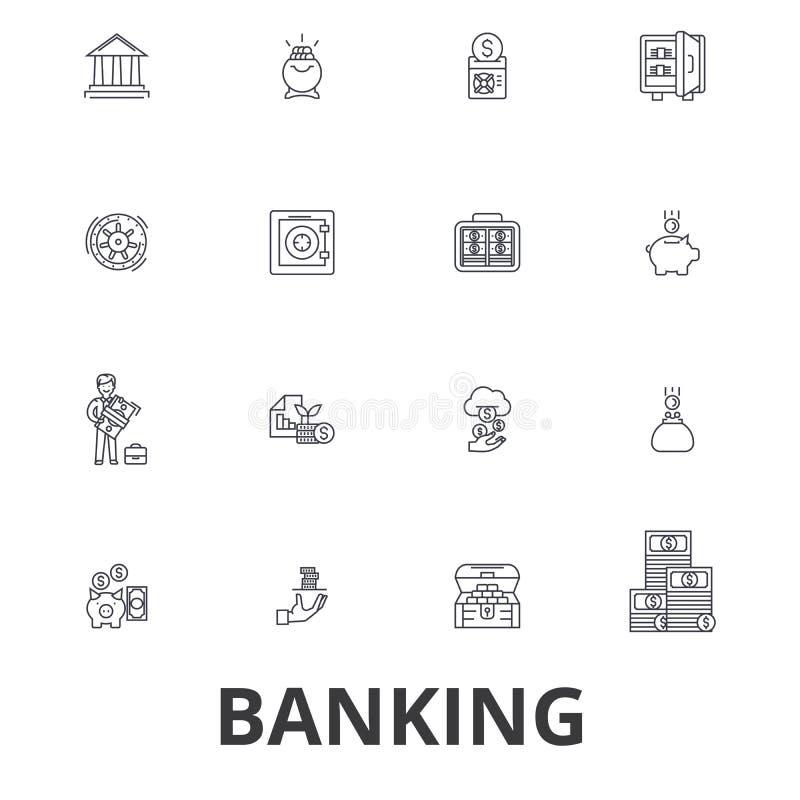 Bankwesen, ank Gebäude, Finanzierung, Geld, Banker, Sparschwein, Geschäft, Kreditkartelinie Ikonen Editable Anschläge flach stock abbildung