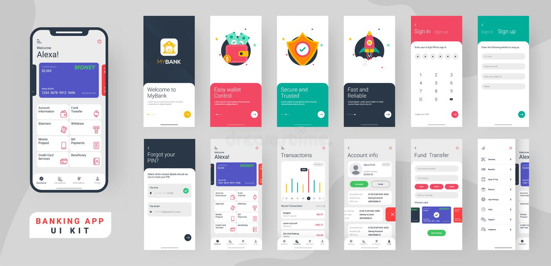 Bankwesen App ui Ausrüstung für entgegenkommenden beweglichen App oder Website mit unterschiedlichem Plan vektor abbildung