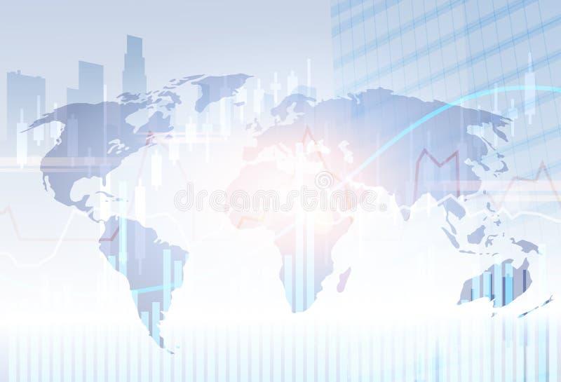 Bankwesen-Fahnen-Finanzeinsparungens-abstrakter Schattenbild-Stadt-Hintergrund lizenzfreie abbildung