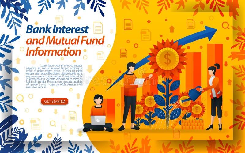 Bankwesen, zum von Investmentfonds zu speichern gutes Bankzinsenwasser die Blumen, Konzeptvektor ilustration f?r kann die Landung vektor abbildung