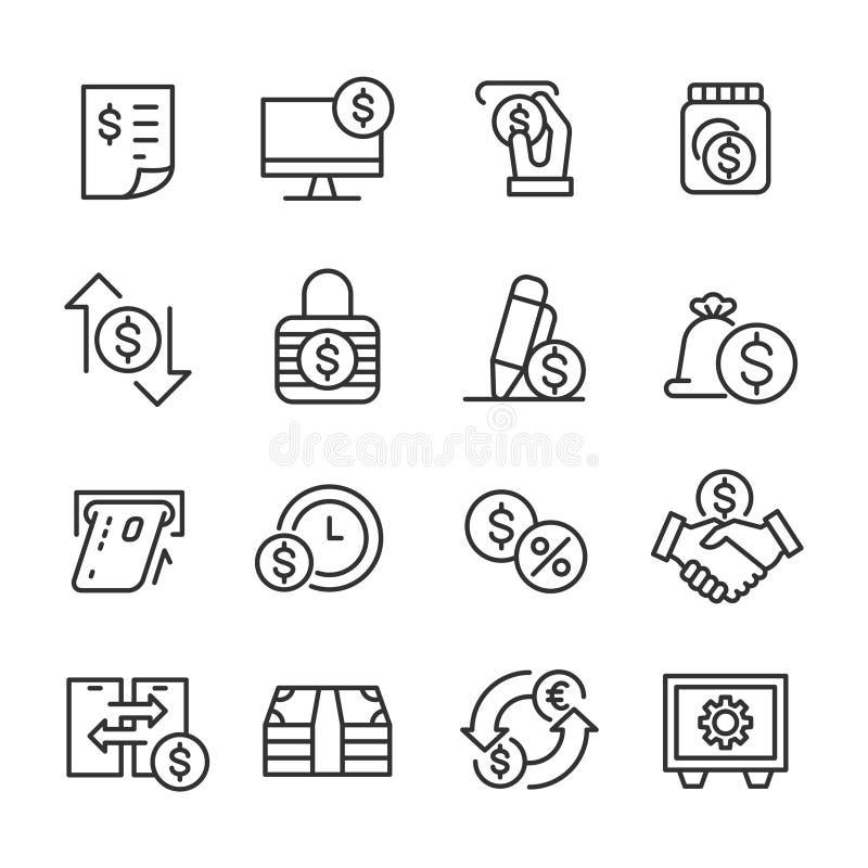 Bankwezen en Geld - Lijnpictogrammen stock illustratie