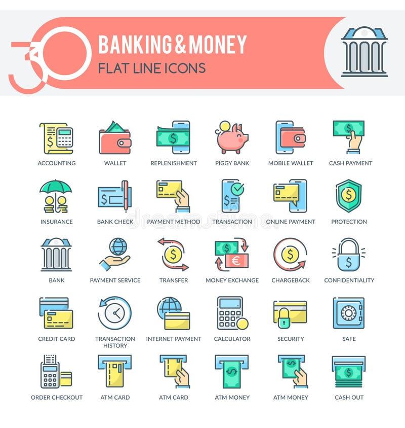 Bankwezen en geldpictogrammen vector illustratie