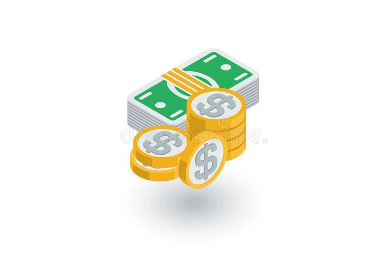 Bankwezen, geld, dollarbankbiljetten en muntstukken isometrisch vlak pictogram 3d vector stock illustratie