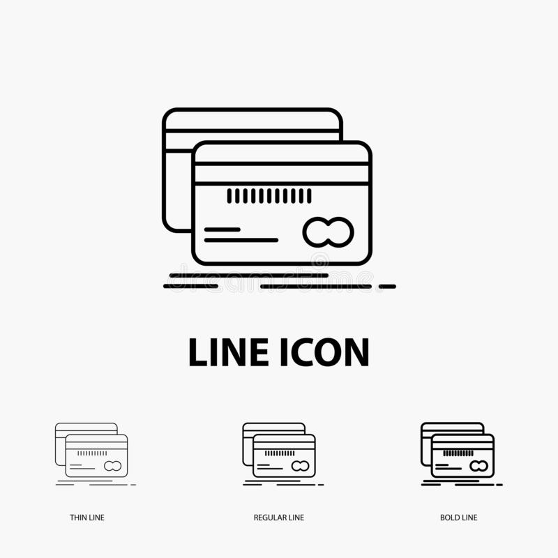 Bankwezen, kaart, krediet, debet, financiënpictogram in Dunne, Regelmatige en Gewaagde Lijnstijl Vector illustratie vector illustratie