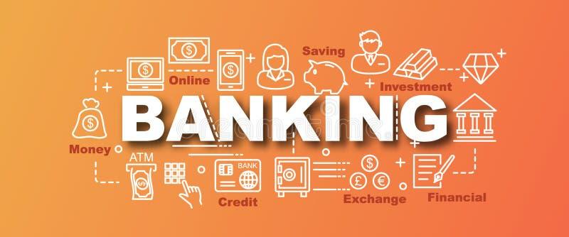 Bankwezen vector in banner stock illustratie