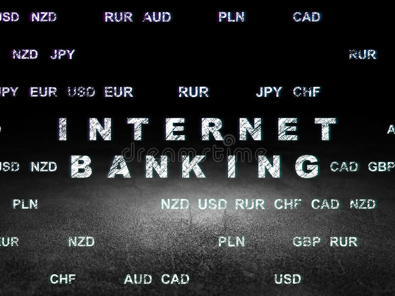 Bankwezenconcept: Internet-Bankwezen in grungedark royalty-vrije illustratie