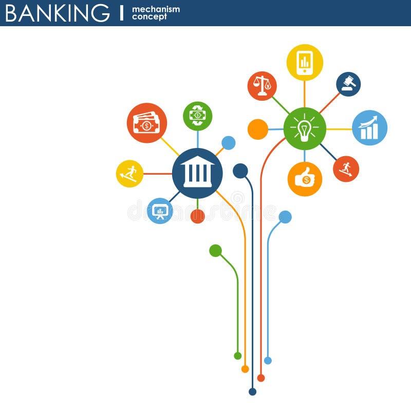 Bankwezenmechanisme Abstracte achtergrond met verbonden toestellen en geïntegreerde vlakke pictogrammen symbolen voor geld, kaart stock illustratie