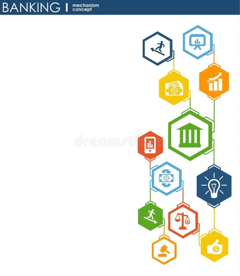 Bankwezenmechanisme Abstracte achtergrond met verbonden toestellen en geïntegreerde vlakke pictogrammen symbolen voor geld, kaart royalty-vrije illustratie