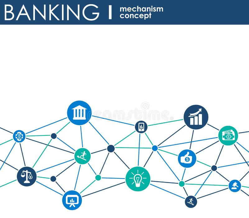 Bankwezenmechanisme Abstracte achtergrond met verbonden toestellen en geïntegreerde vlakke pictogrammen symbolen voor geld, kaart vector illustratie