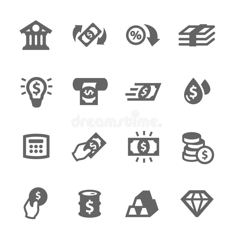 Bankwezenpictogrammen vector illustratie