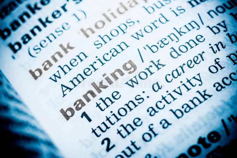 Bankwezenword Definitie royalty-vrije stock foto
