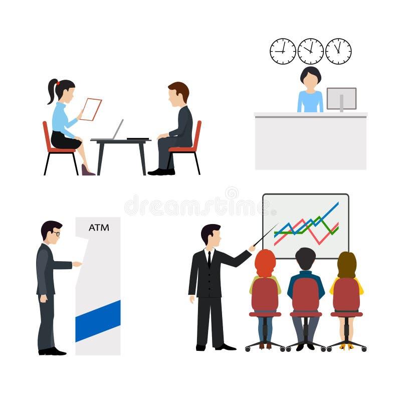 Bankzakenconcept Mensen in een geplaatste bank vlakke vectorpictogrammen royalty-vrije illustratie