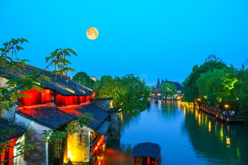 Banlieue noire rêveuse de l'eau - wuzhen photos libres de droits