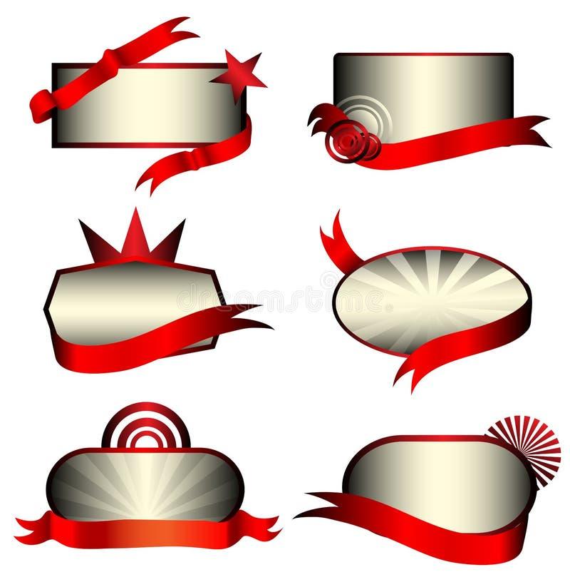 bann märker lyxig metallisk red den set vektorn royaltyfri illustrationer