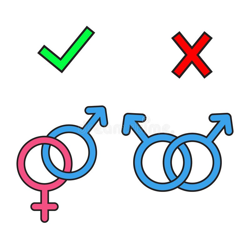 Banned gay marriage. icons stock illustration