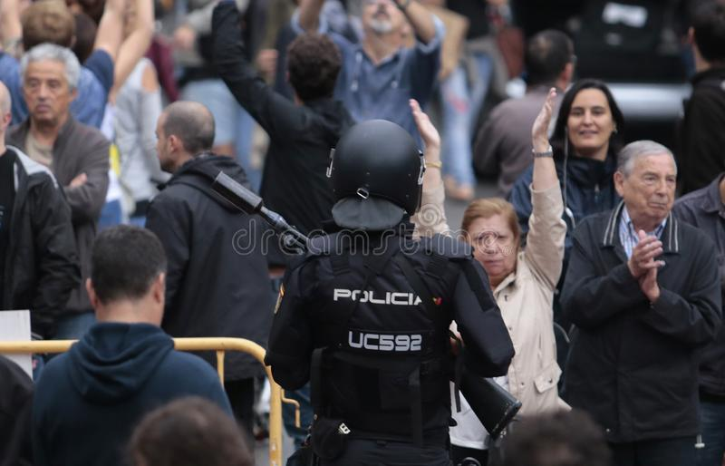 Banned pro independence referendum day in barcelona royalty free stock image