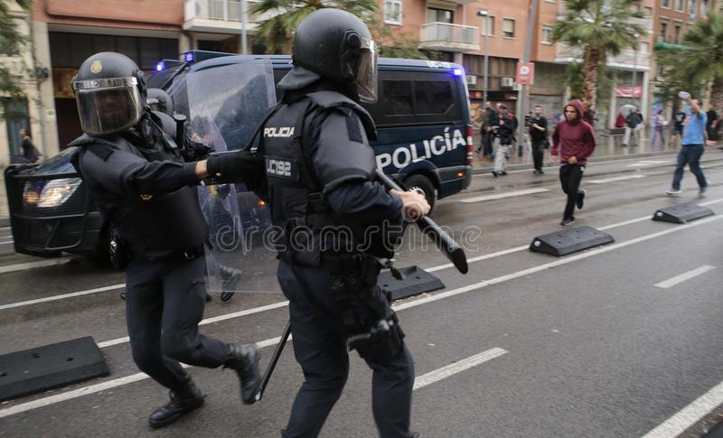 Banned pro referendum day in barcelona stock image