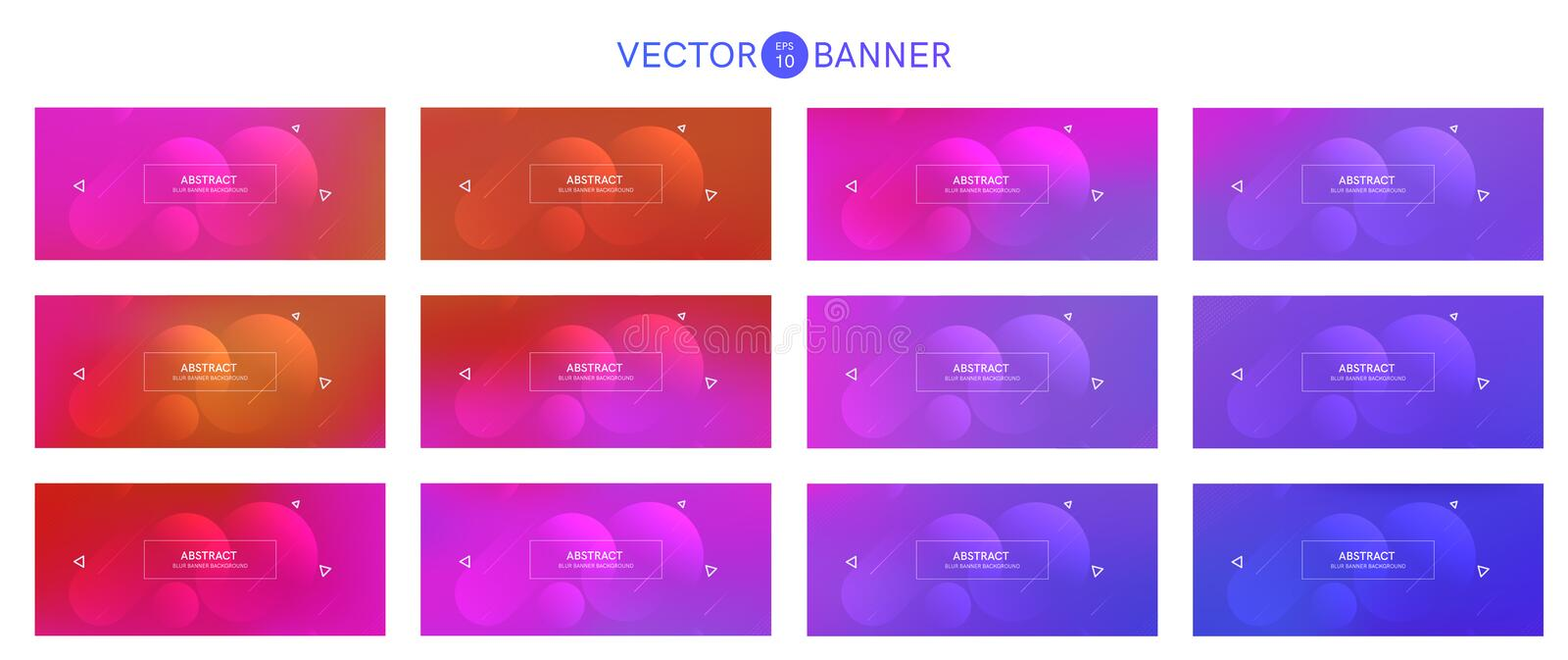 Abstract banner with gradient shapes set royalty free illustration