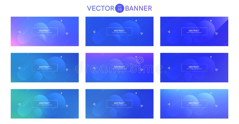 Abstract banner with gradient shapes set vector illustration