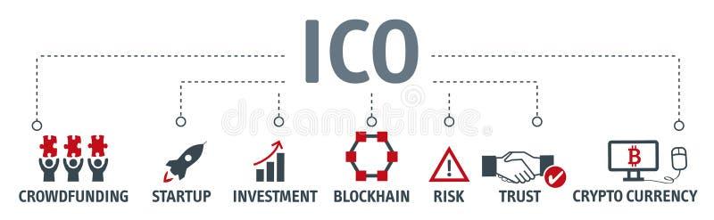 Banner Aanvankelijk Muntstuk die concept aanbieden stock illustratie