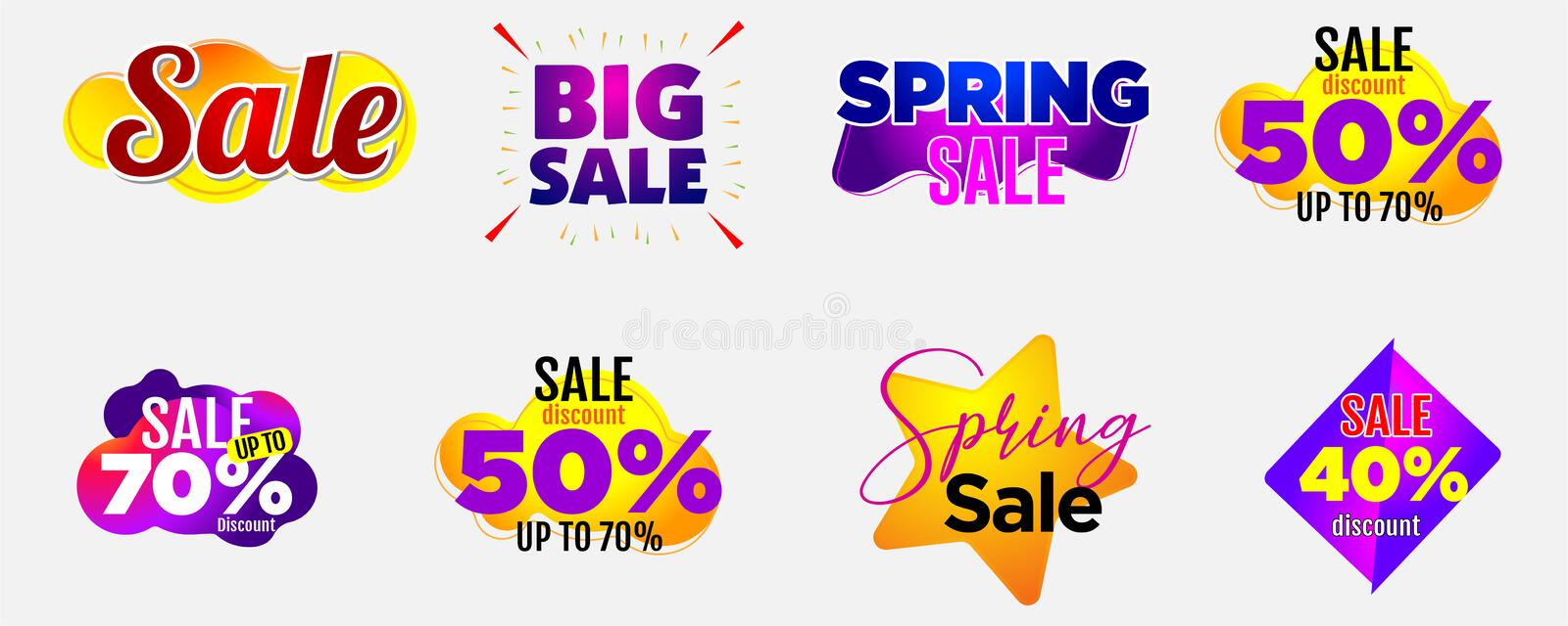 Banner abstract bubble design vector tags labels discount. Sticker tags sale flash sale big sale spring sale stock illustration
