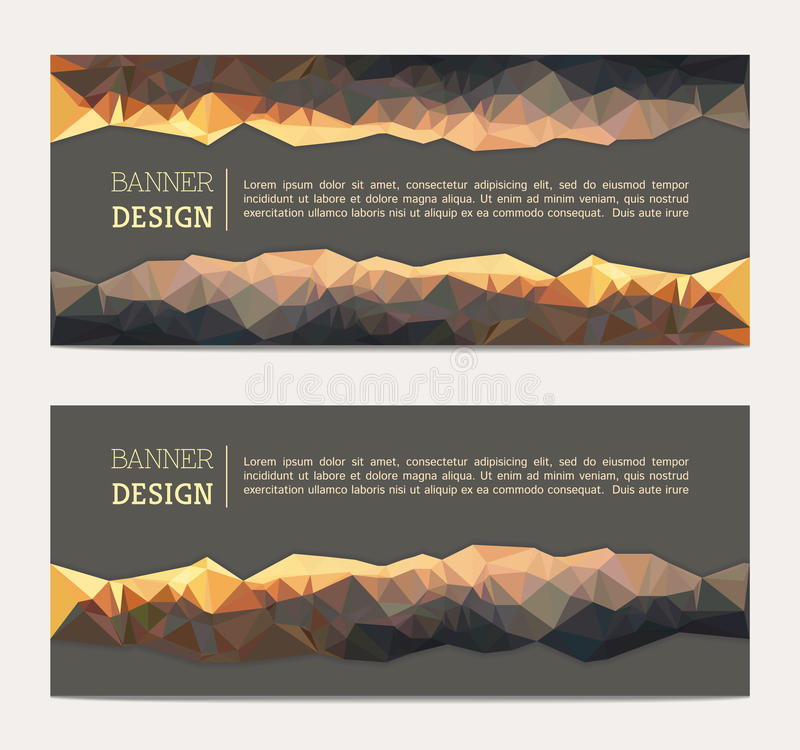 Banner with abstract polygonal background stock illustration